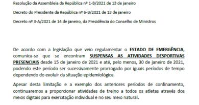 Comunicado nº2 – SUSPENSÃO DE ATIVIDADES DESPORTIVAS PRESENCIAIS